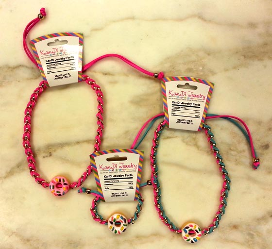 Cute leather and bead necklaces with doughnut charms!