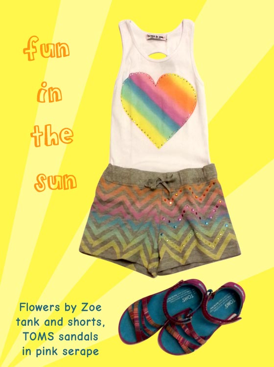 Cute knit shorts and a heart tank keep you cool and cute this summer!