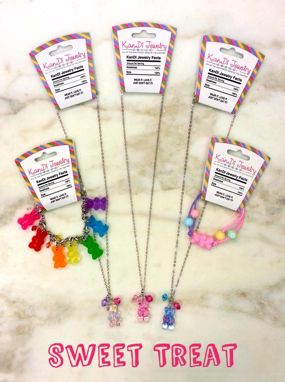 Candy themed jewelry is too cute.