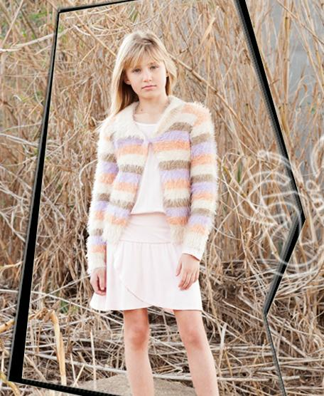 Sweater as shown, long sleeve tee available in lavender, skirt available in tan faux suede style