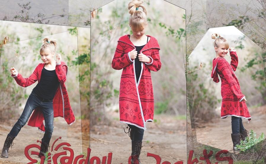 Red sweater coat available as shown at Sachi Girl