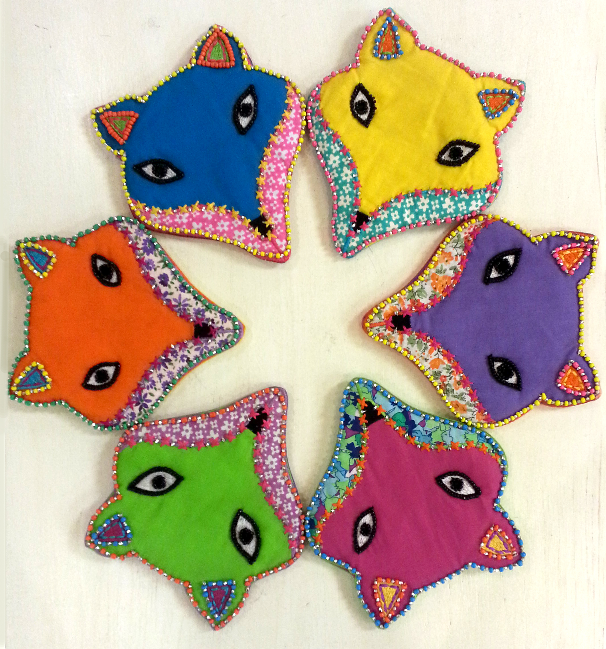 A Rainbow of Fox Coin Purses