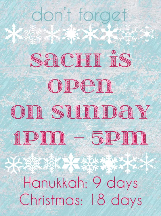 For a limited time, Sachi is open Sundays!