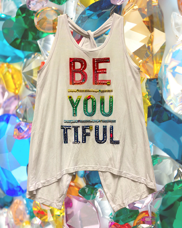 BeYoutiful tank from Flowers by Zoe with back details, rhinestones and pearls