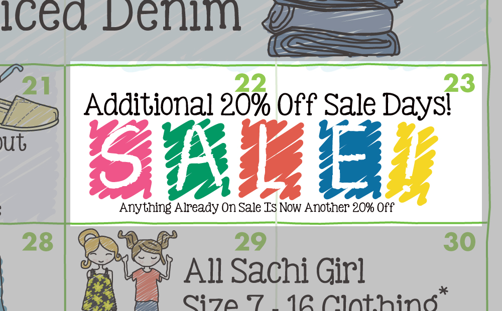 Sachi 2015 Spring Calendar Extra Off Sale Days