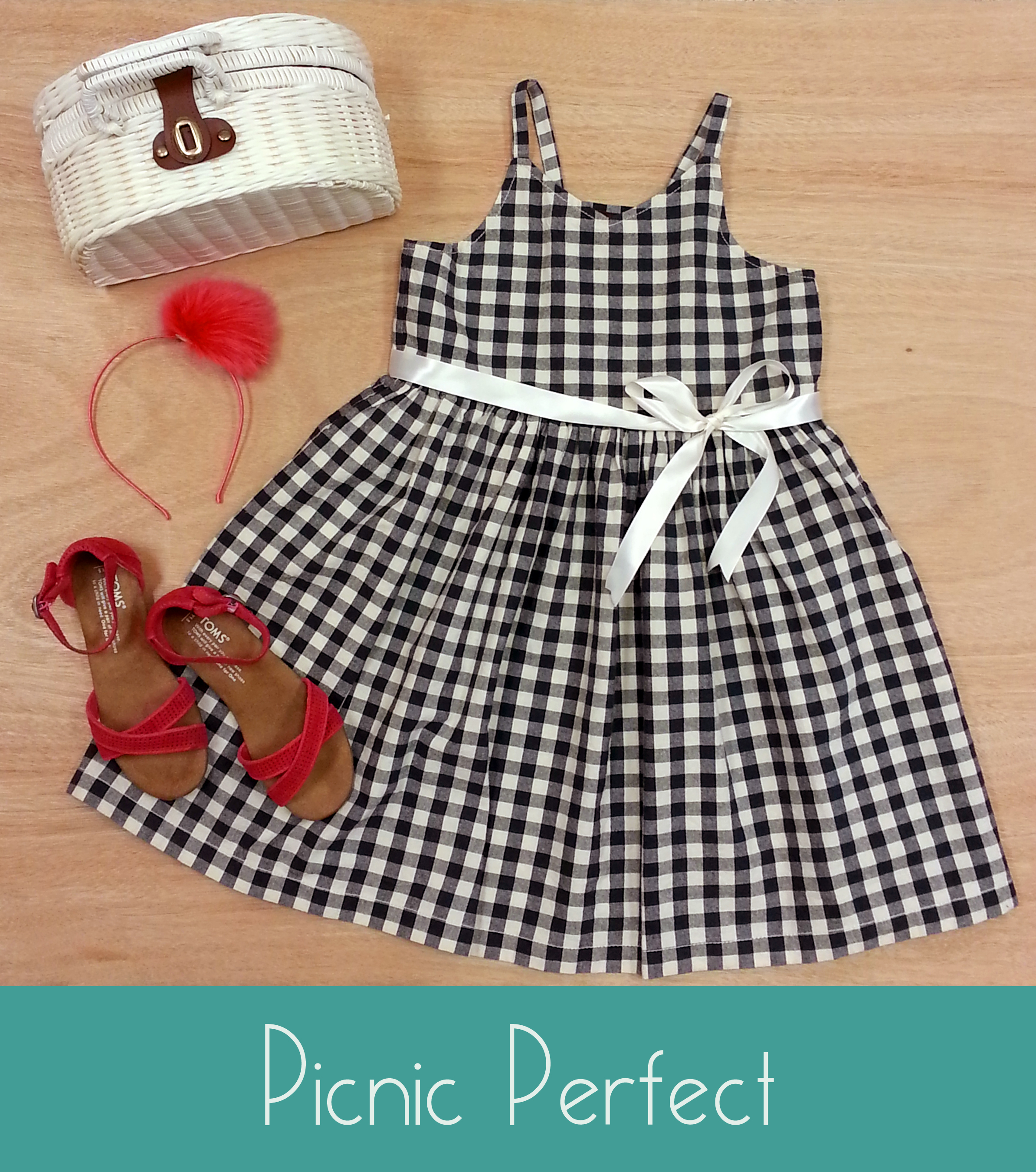 A flirty gingham dress accessorized perfectly for picnicking.