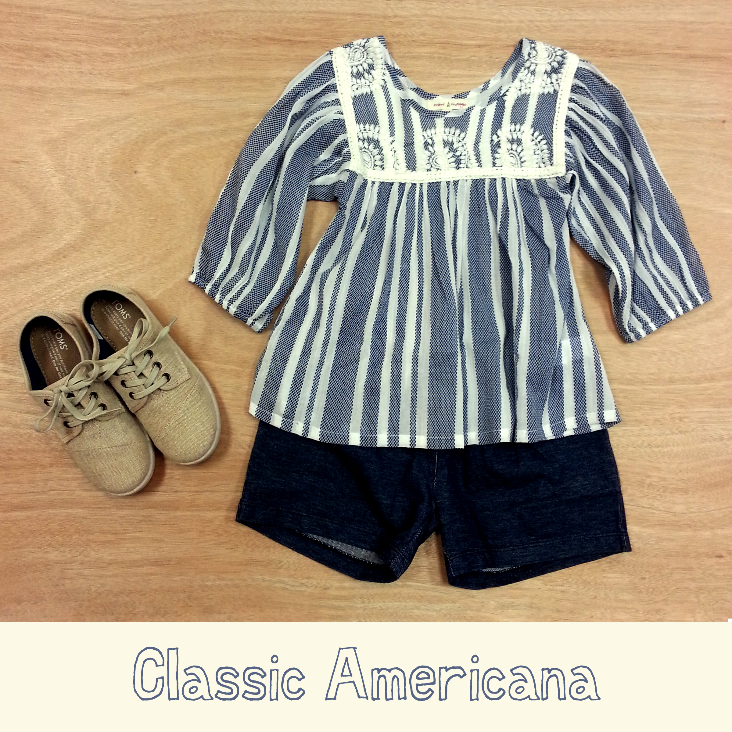 Mimi & Maggie chambray top, Tea Collection denim-look knit shorts and TOMS Paseos in natural burlap