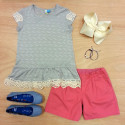 grey tee with cream lace accents from blu by blu, TOMS ballet flats, pink woven shorts from Tea Collection, accessories