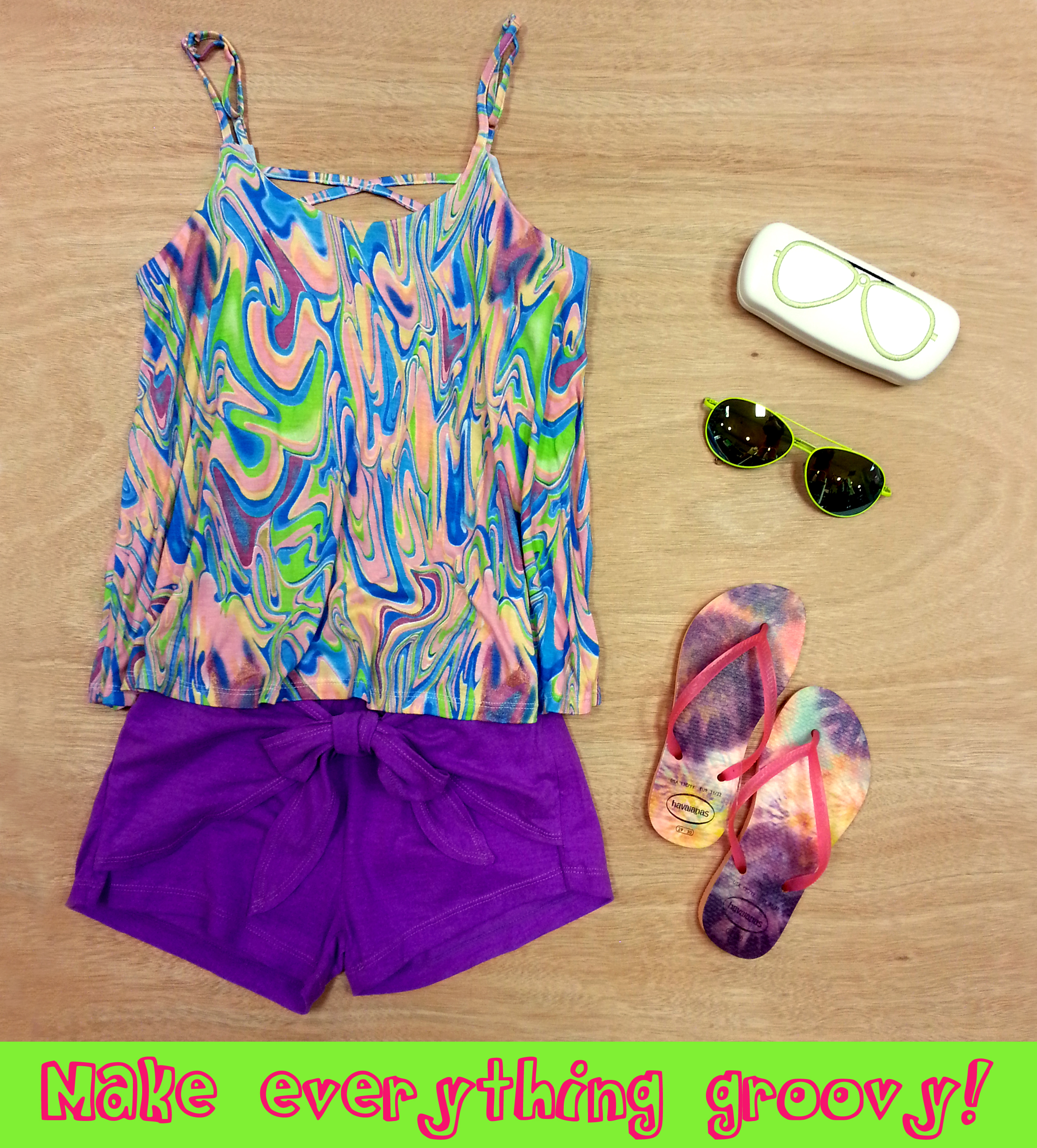 Tie-dyed outfit from Flowers by Zoe with Havaianas and aviator shades