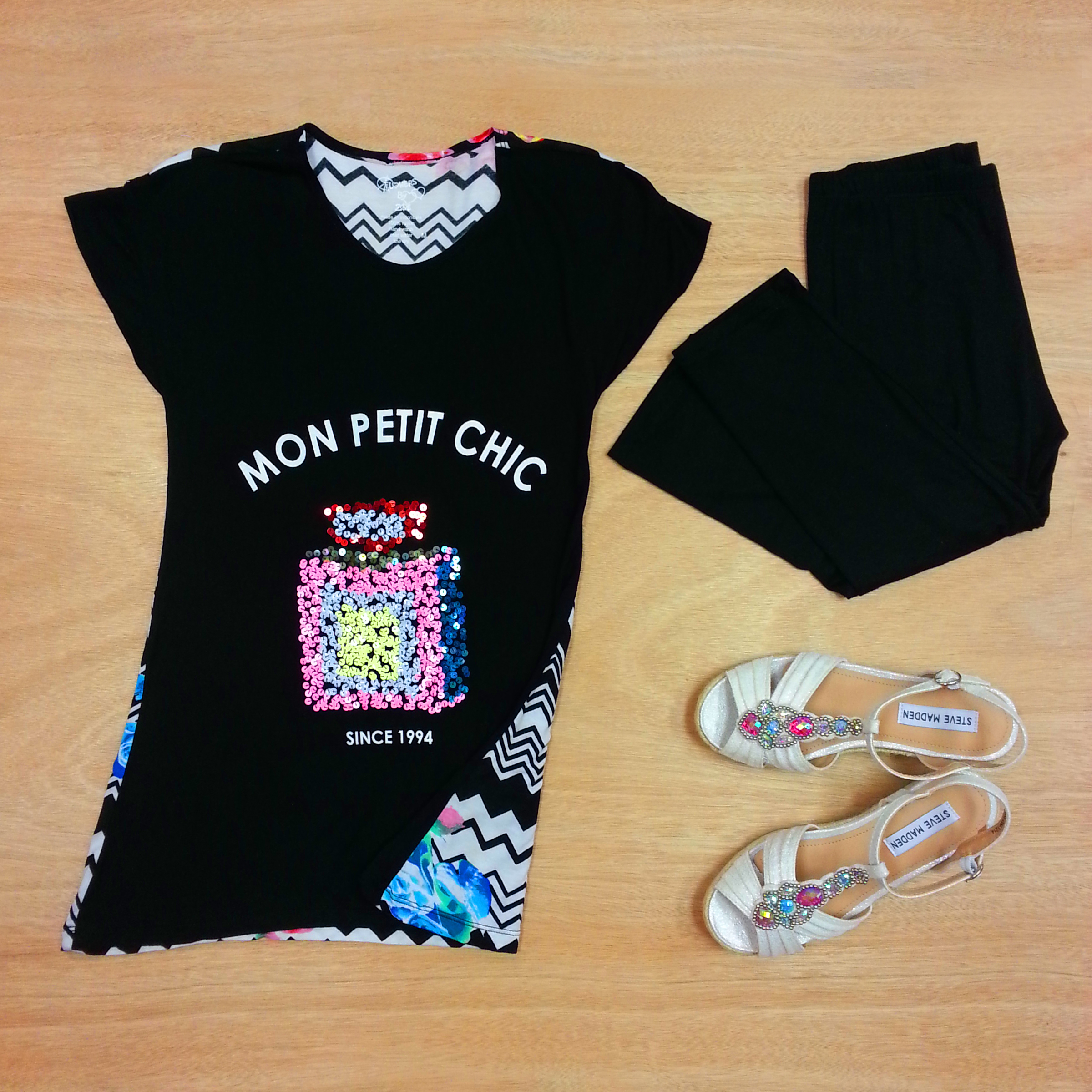 Mon Petit Chic Tee from Flowers by Zoe with Area Code 407 leggings and Steve Madden wedges