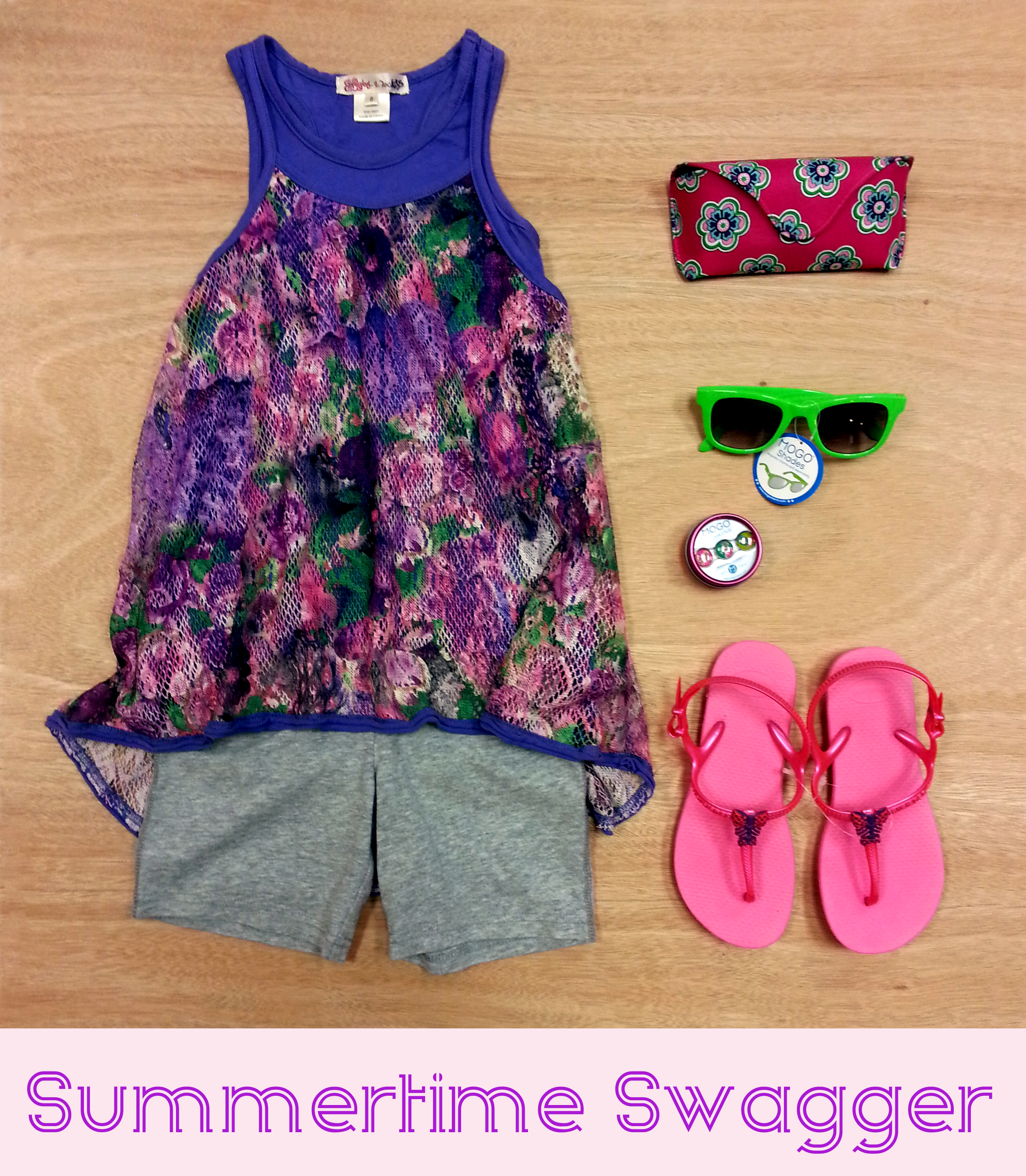 Sporty floral tank and knit shorts from Ragdoll & Rockets with Mogo sunglasses, Vera Bradley sunglasses case and pink Havaianas