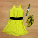 Yellow dress from Ragdoll & Rockest,jeweled belt,bumblebee Havaianas,Vera Bradley headband
