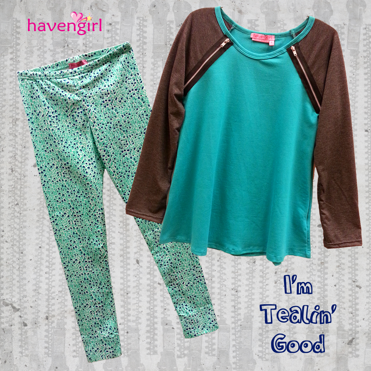 Cute top with zipper features and cheetah leggings in teal from Haven Girl