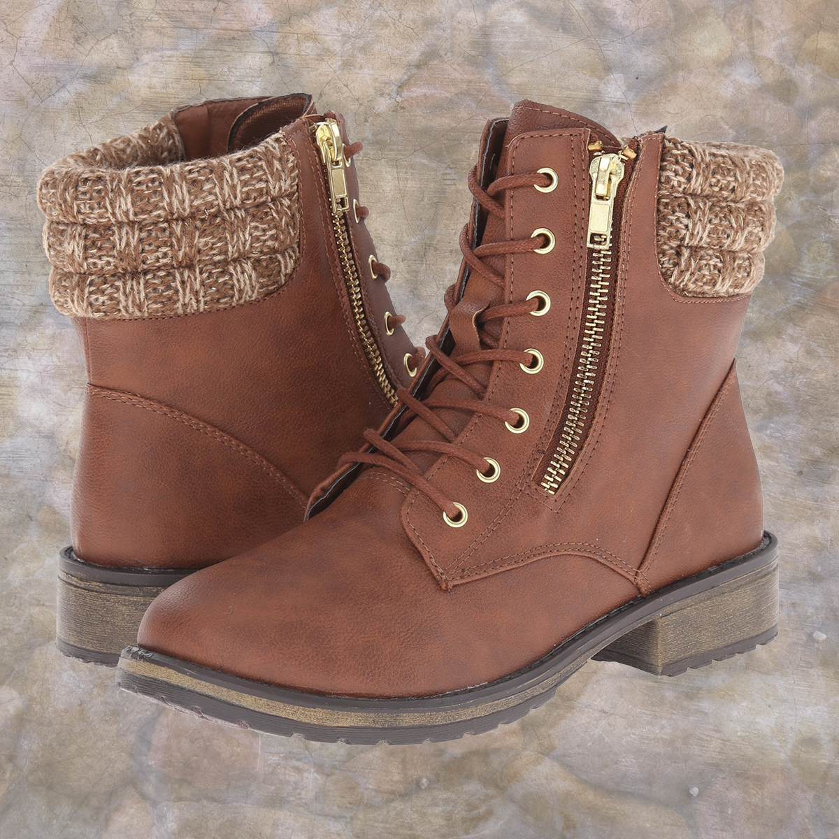 Cute combat boots with sweater and zipper details from Steve Madden