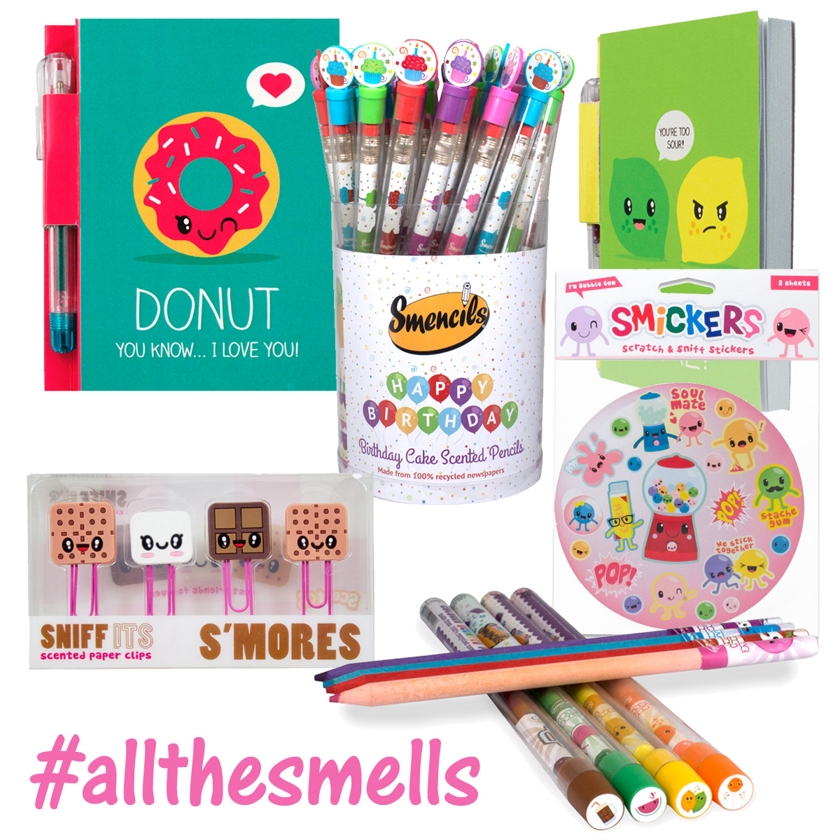 Fun scented pencils, pens, stickers and more!