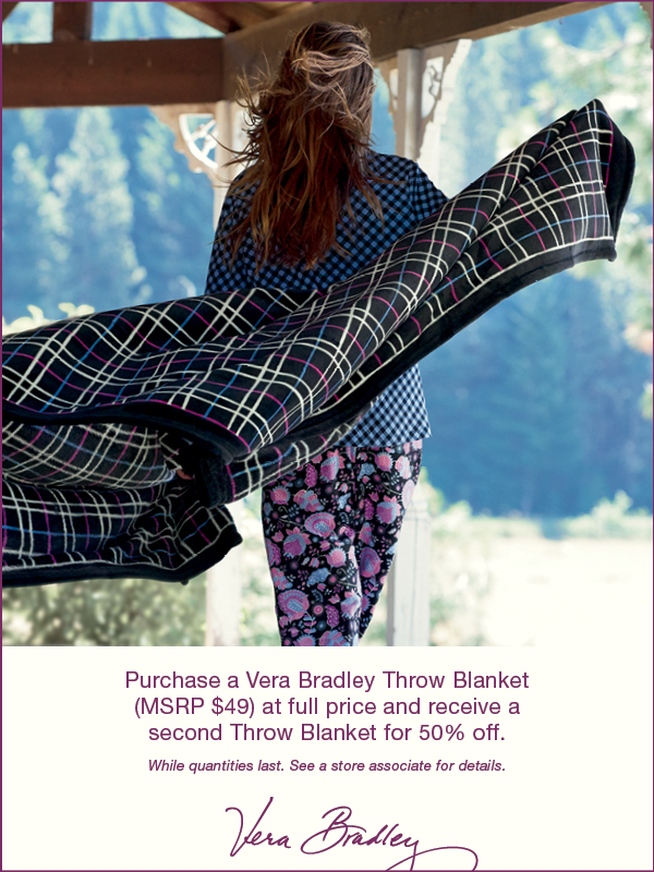 BOGO 50% OFF Vera Bradley Throw Blankets
