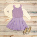 Elisa B lavender skirt set with Mayoral sweater and Old Soles ballet flats