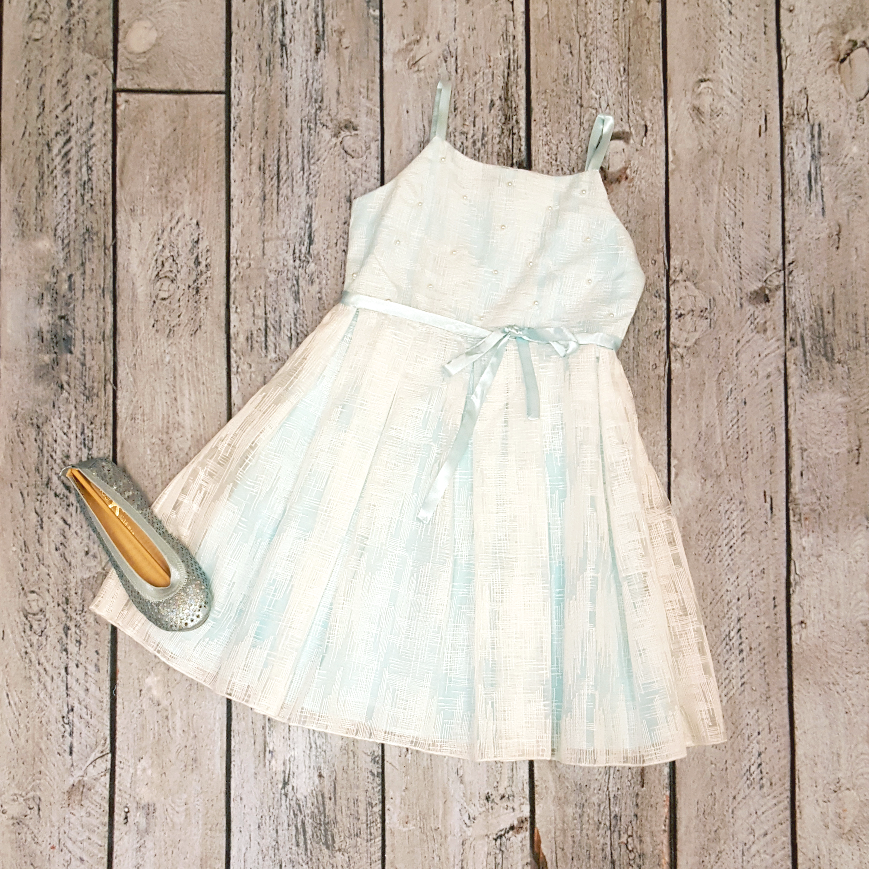 Blue/White dress wiith pearl studs by Biscotti