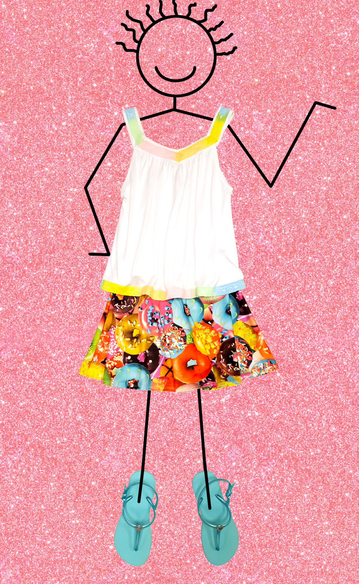 Flowers by Zoe donut skirt, rainbow top and Havaianas flipflops