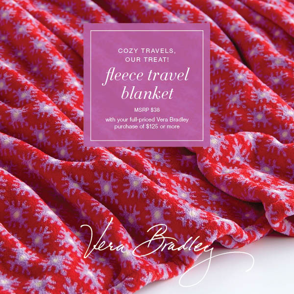 Vera Bradley Fleece Travel Blanket Promo