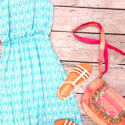 maxi dress from Area Code 407 with Nina sandals and a boho-chic purse