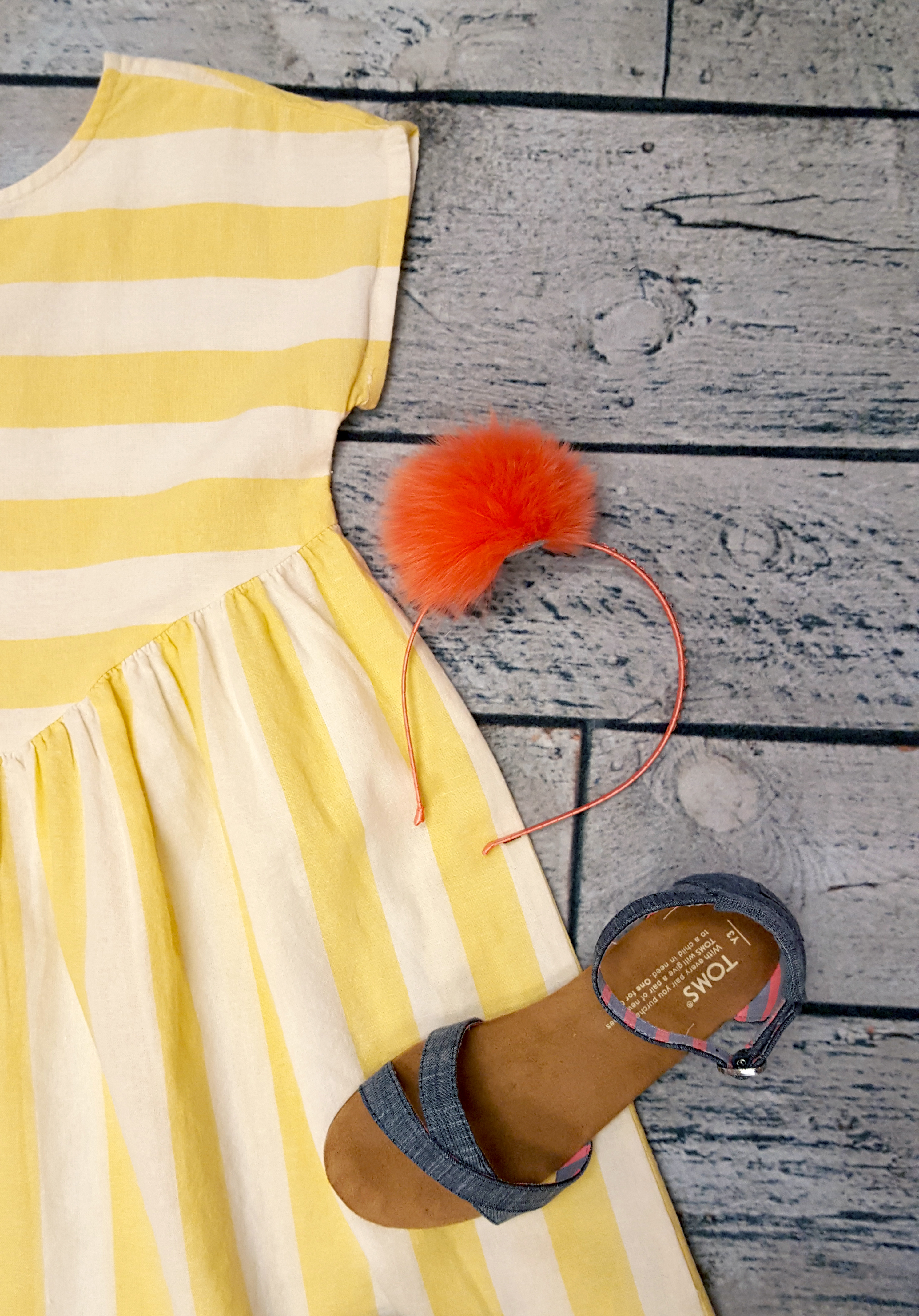 Yellow stripe Tea dress with Bari Lynn headband and TOMS Correa sandals